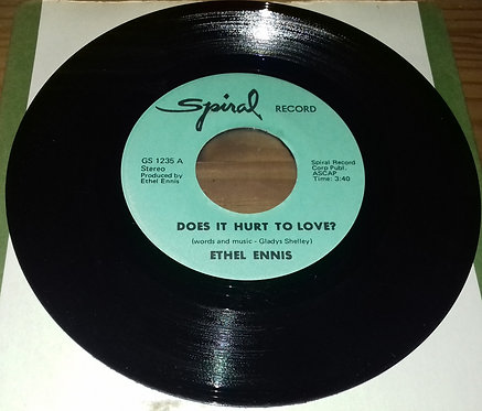 """Ethel Ennis - Does It Hurt To Love? (7"""", Single) (Spiral Record Corp.)"""
