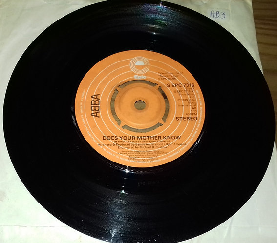 """ABBA - Does Your Mother Know (7"""", Single, Pus) (Epic)"""