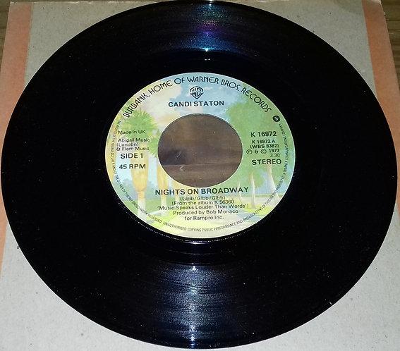 """Candi Staton - Nights On Broadway (7"""", Lar) (Warner Bros. Records, Warner Bros."""