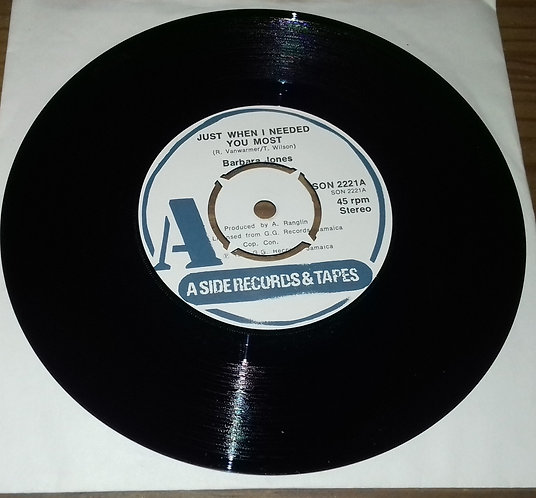 """Barbara Jones - Just When I Needed You Most (7"""", RE, 4 P) (A Side Records & Tape"""