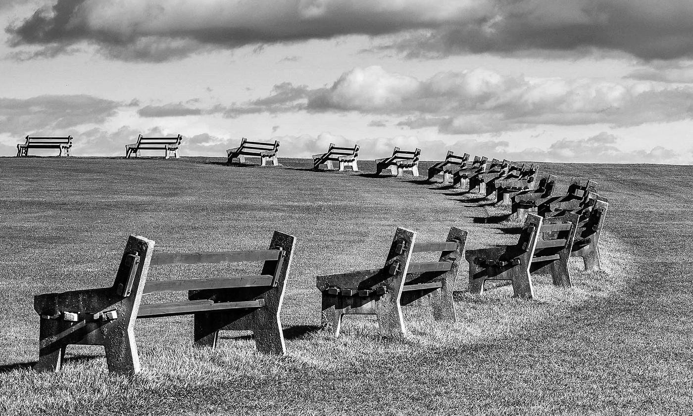 2. empty benches. ian ashton