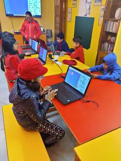 Primary Coders Practicing Santatracker