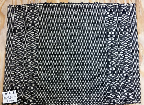 Black Pattern on Beige rectangular placemat