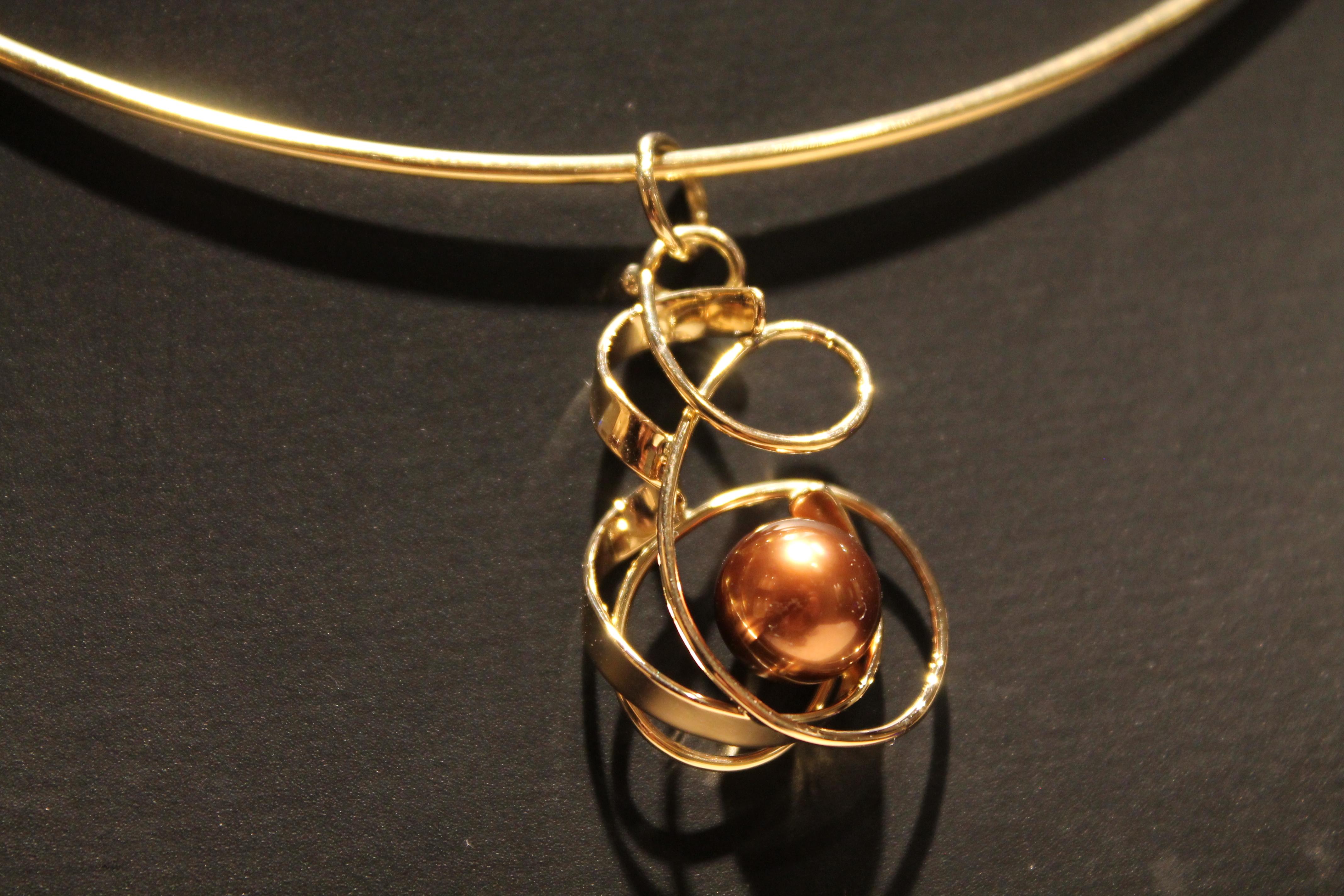 Pendente oro rosa e perla Tahiti