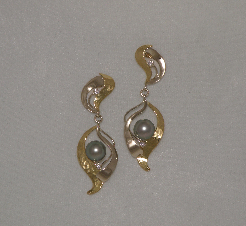 Orecchini Perla grigia e Diamanti