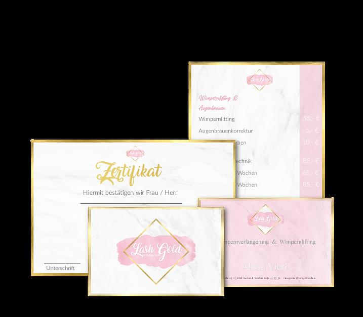 Flyer, Zertifikate, Preisliste Kosmetik