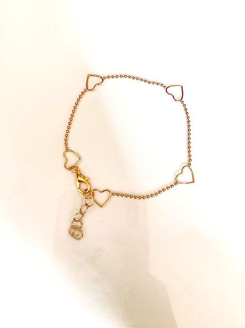 Gold, Multiple Hearts Bracelet