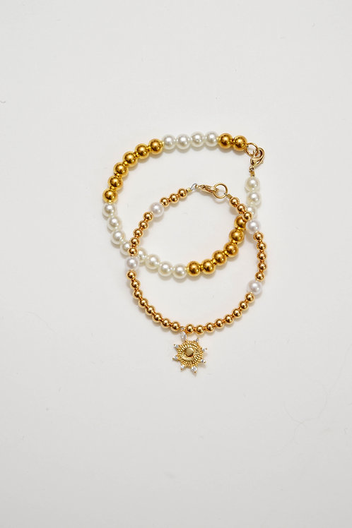 Gold Pearl & Sun Charm Bracelet
