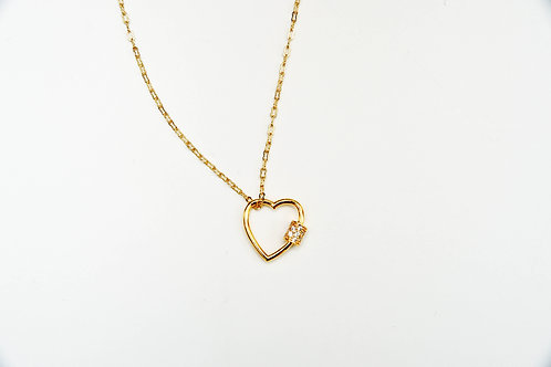 Gold Sparkly Heart Necklace