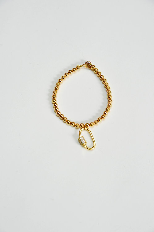 Gold Sparkly Safety Pin Bracelet