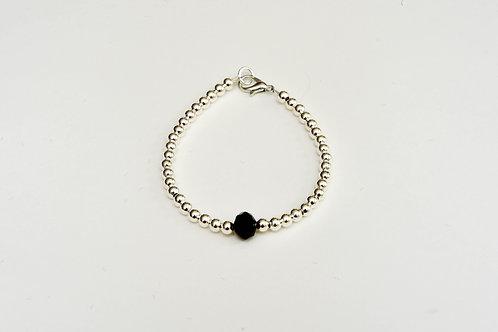 Silver Black Crystal Bracelet
