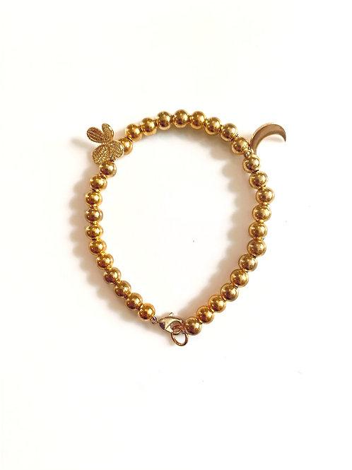 Gold Butterfly & Moon Bracelet