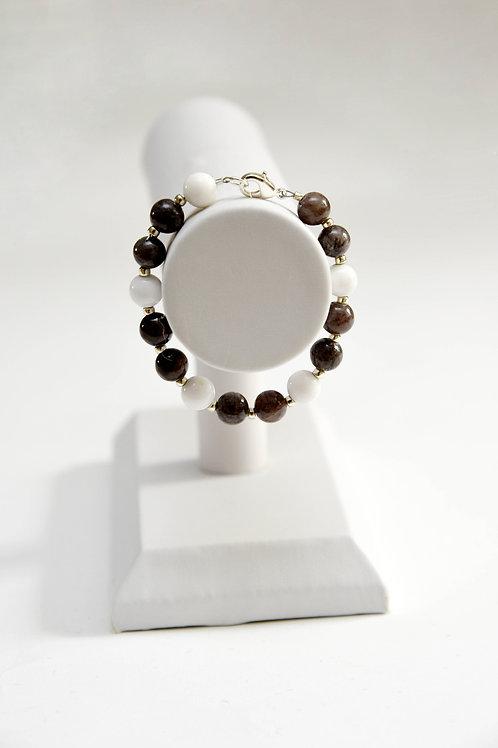 Dark Silver & White Beaded Bracelet