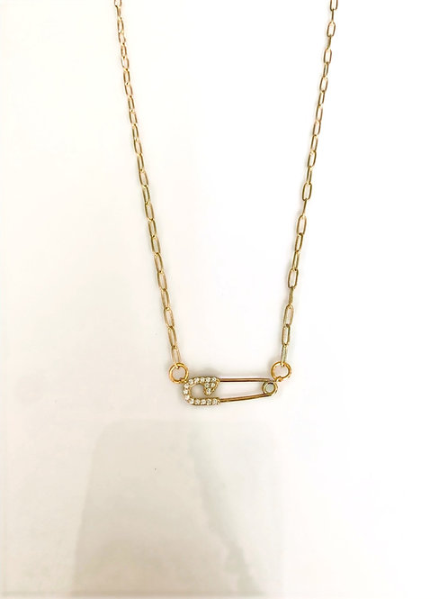 Gold Sparkly Safety Pin Necklace