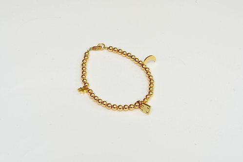 Gold Hash, Moon, & Lock Charm Bracelet