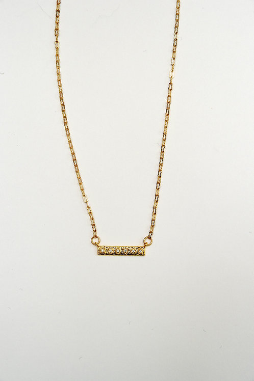 Gold Sparkly Bar Necklace