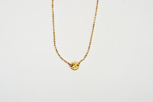 Gold Flat Disc Necklace
