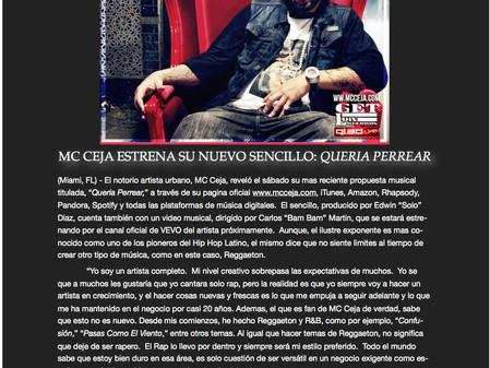 """MC Ceja estrena su nuevo sencillo: """"Queria Perrear"""""""