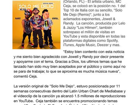 """MC Ceja se Coloca no.1 en Italia con """"Solo Me Dejo"""" Remix Junto a Jowell y Randy"""