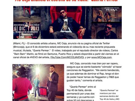 "MC Ceja anuncia el estreno de su video: ""Queria Perrear"""