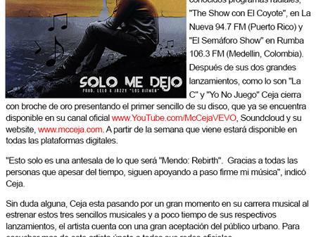 "MC Ceja presenta ""Solo Me Dejo"""