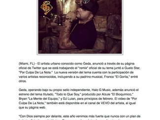 """Geda anuncia el remix de """"Por Culpa De La Nota"""""""