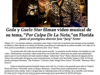 """Geda y Guelo Star filman video musical de su tema, """"Por Culpa De La Nota,""""en Florida"""