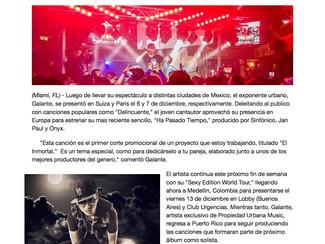 """Galante se presenta en Europa y estrena el sencillo:  """"Ha Pasado Tiempo"""""""