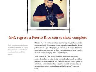 Geda regresa con su show completo a Puerto Rico