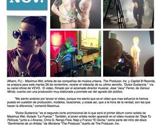 """Maximus Wel se prepara para el estreno mundial del videoclip de """"Dulce Sustancia"""""""