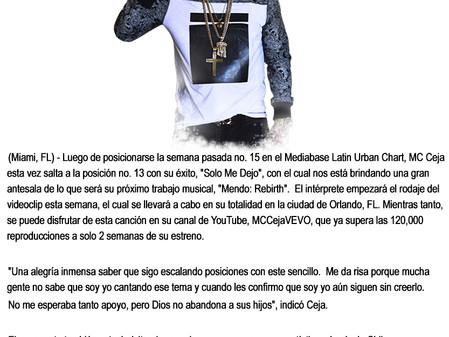 MC Ceja salta a la posición No. 13 dentro del Mediabase Latin Urban Chart