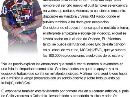 MC Ceja Se Posiciona No. 15 Dentro Del Mediabase Latin Urban Chart