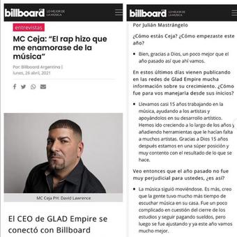 MC Ceja en Billboard Argentina