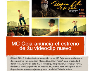 MC Ceja anuncia el estreno de su videoclip nuevo