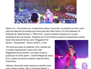 Guelo Star conquista al publico de Peru