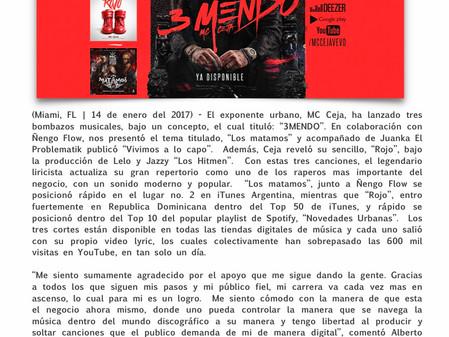 MC Ceja impacta con tres temas nuevos
