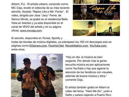 "MC Ceja estrena videoclip de su último sencillo: ""Rapeo Like A Mo' Focka"""
