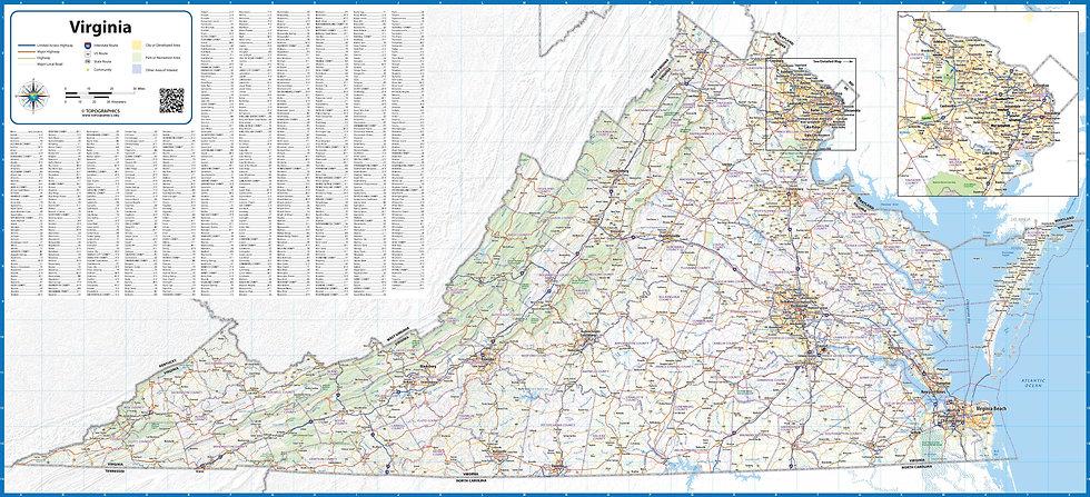 Virginia Laminated Wall Map