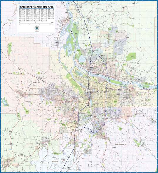 Greater Portland Oregon Laminated Wall Map