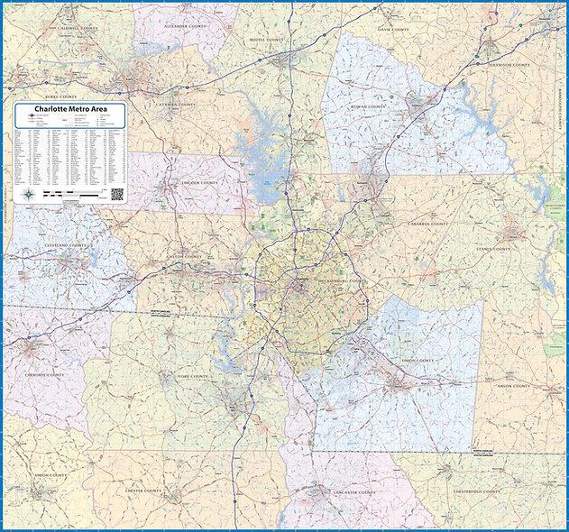 Charlotte Metro Area Laminated Wall Map