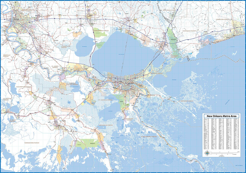 New Orleans Laminated Wall Map