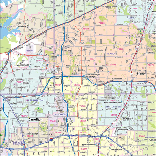 Dallas - Fort Worth Metro Area Laminated Wall Map on