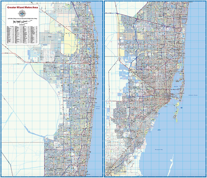 Greater Miami Metro Area Laminated Wall Map