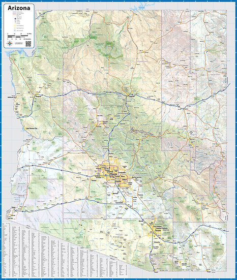 Arizona Laminated Wall Map