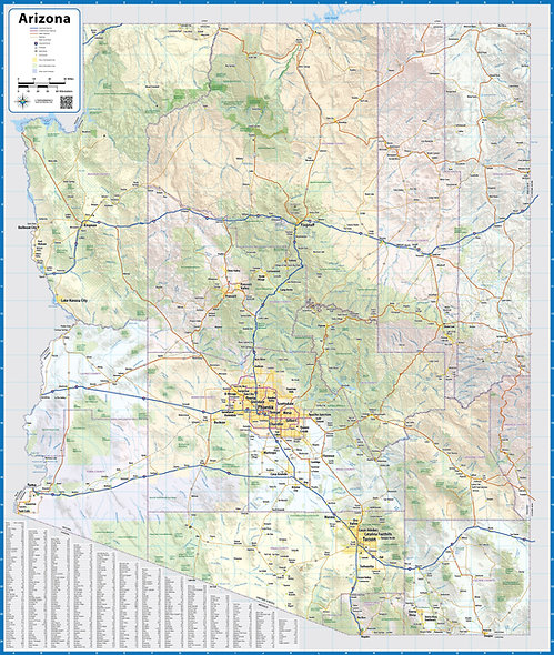 Arizona Laminated Wall Map