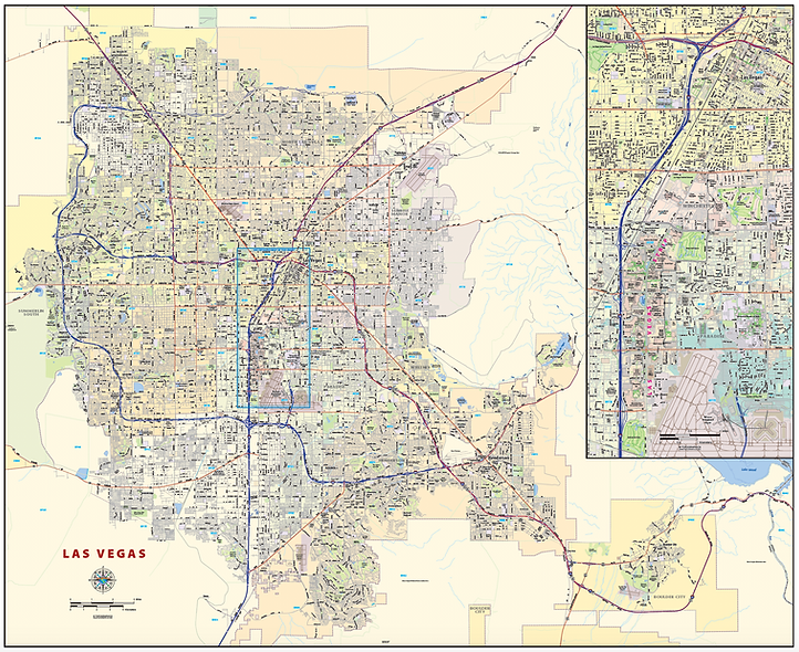 Las Vegas Laminated Wall Map