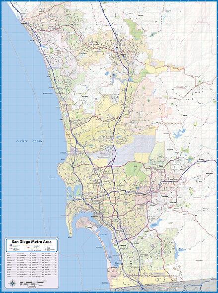 San Diego Laminated Wall Map