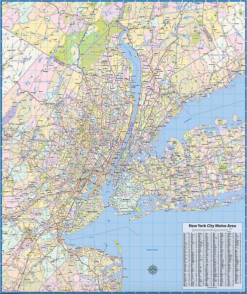 New York Metro Region Wall Map