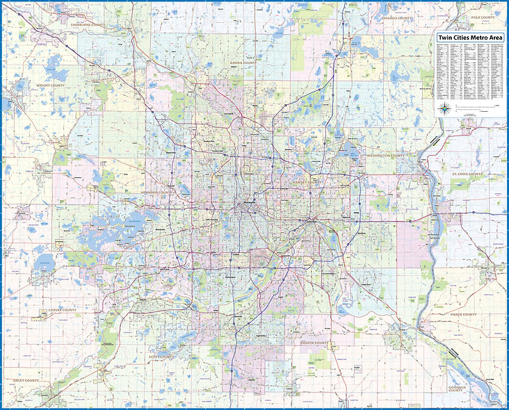 Twin Cities Metro Area Laminated Wall Map