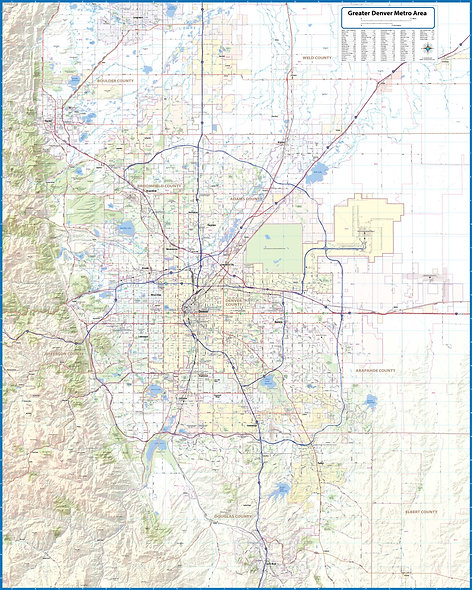 Greater Denver Metro Area Laminated Wall Map